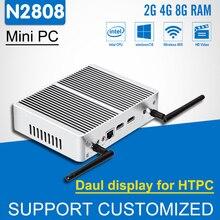Новинка! 2 * HDMI Mini компьютер без вентилятора Мини-ПК Celeron N2808 HTPC Дисплей Intel Окна 10 Linux 300 м Wi-Fi настольный компьютер