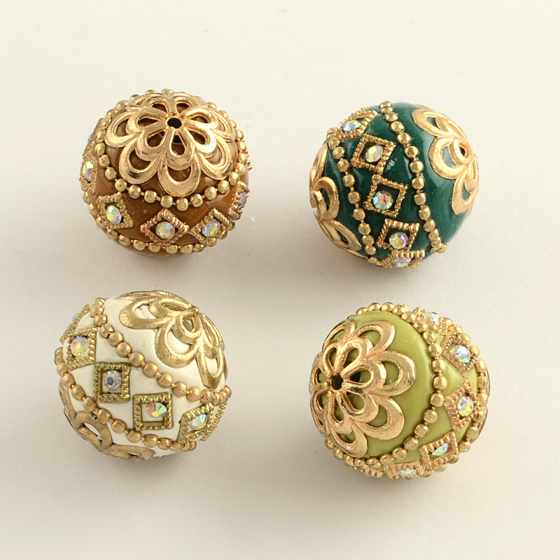100pcs 20mm Round Handmade Rhinestone Indonesia Beads with Golden Tone Alloy Cores Mixed Color DIY Jewelry
