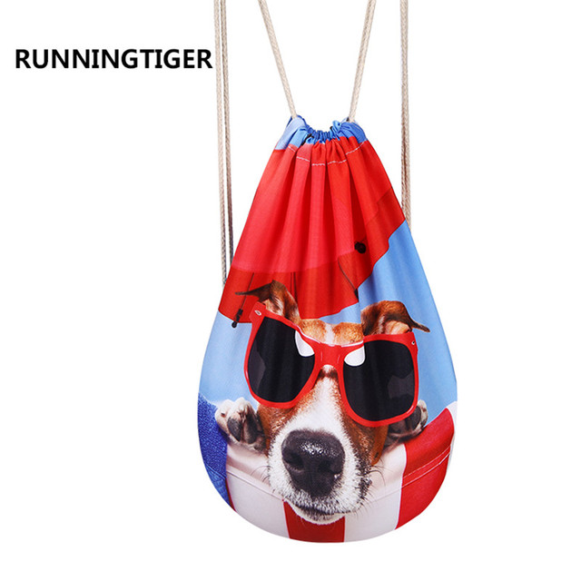 3D Dog Printing Polyester Drawstring Bag Men Mochila Escolar Travel School  Backpack Casual Sack Pack Shoulder Bags Kids Daypacks