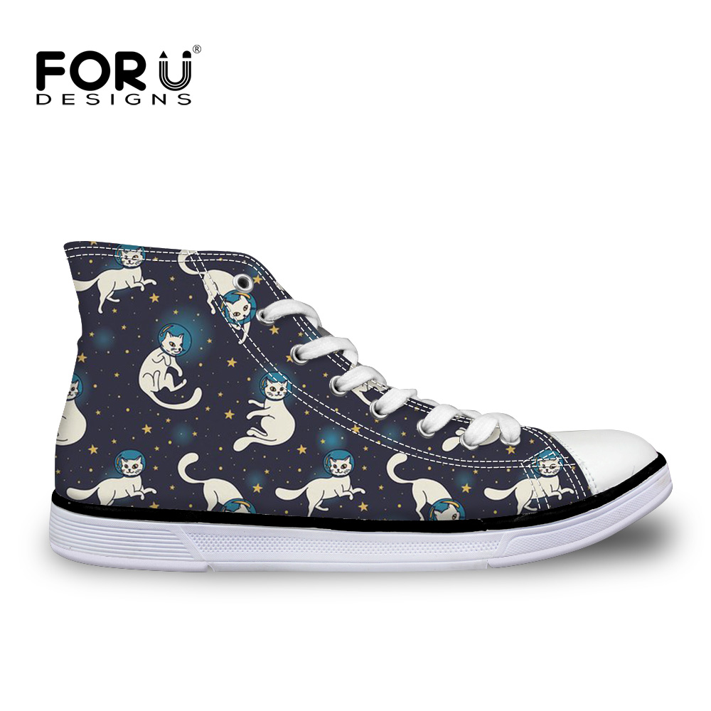 FORUDESIGNS Black Cat Women Vulcanize Shoes For Teenager Girls Lace-up Sneakers Cute Comfortable Summer High Top Canvas Footwear ynynoo bela 10501 233pcs princess friend elves elvendale school of dragons model building kits blocks brick with 41173