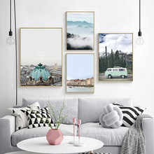 Nordic Minimalist Art Print Poster Abstract Scenery Wall Pictures Mint Green Car Travel Canvas Painting Living Room Home Decor(China)