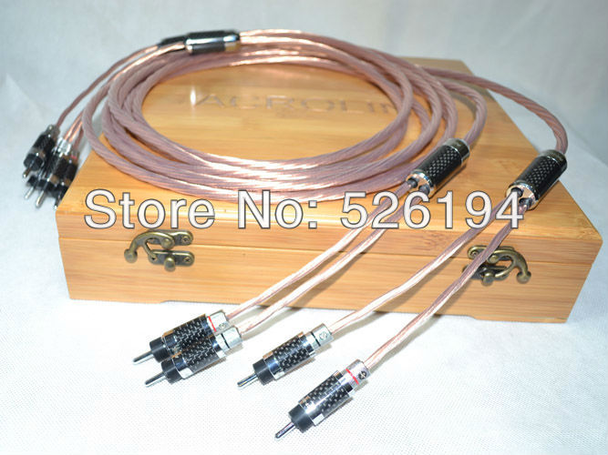 Free shipping Pair Acrolink OCC Copper audio speaker cable with carbon fiber banana plug free shipping pair accuphase audio speaker cable with banana plugs connector