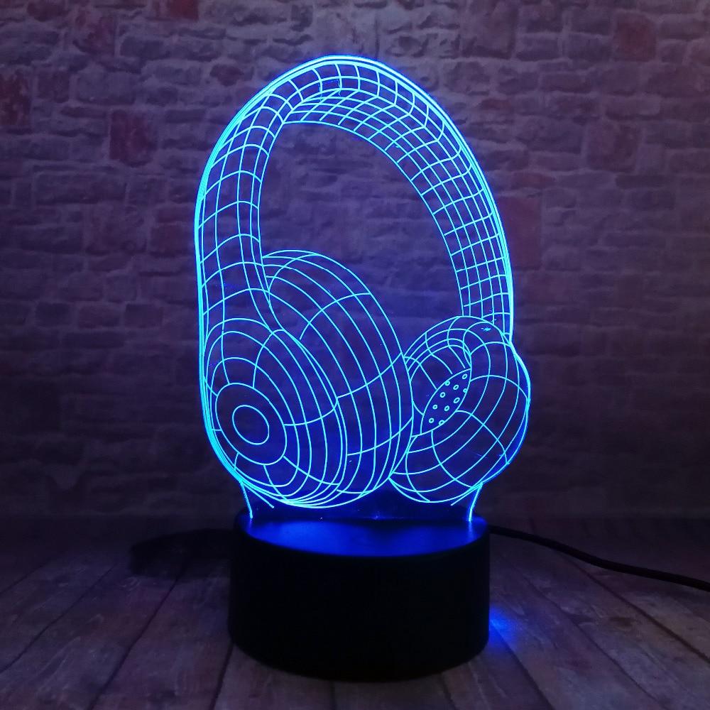Jaunums 3D atdzist 7 krāsu maiņas austiņas LED nakts gaisma bērna - Nakts gaismas - Foto 3