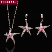 Top Quality ZYS178 Pink Crystal Starfish Rose Gold Color Jewelry Necklace Earring Set Rhinestone Made with Austrian Crystals