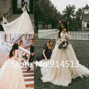 Image 2 - Champagne Sweetheart Wedding Dress Lace Applique Long Sleeve Tulle Princess Bridal Wedding Dresses Custom Size