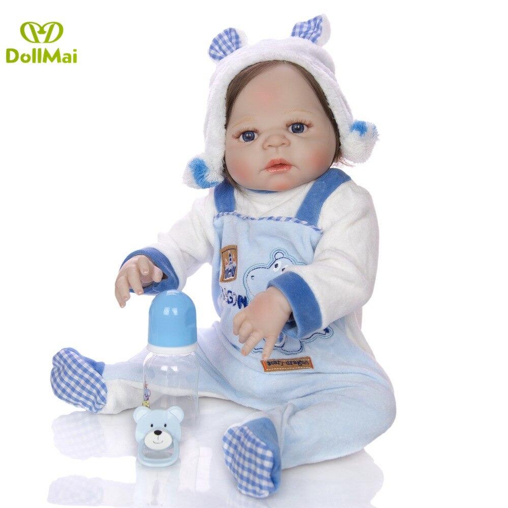 NPK 55cm New Full Body Silicone Reborn Baby Doll Toys Newborn Boy Babies Toddler Dolls Birthday Present Girls Bathe Toy