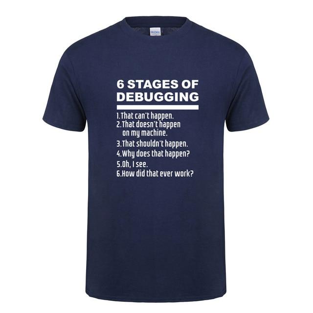 Omnitee 6 段階のデバッグ Tシャツトップス男性のシャツの綿半袖マンバグコーディングコンピュータプログラマ Tシャツ OZ-118
