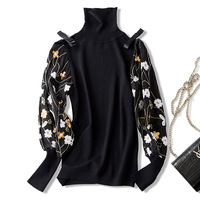 2018 new wool elastic turtle neck embroidery lantern sleeve sweater high quality office lady women autumn pullover sweater