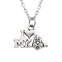 Fashion Trendy Dog Pendant Necklace Single Dog I Love My Dog Silver Color Alloy Necklace For Women Lovers Party Gift Wholesale courtney asunmaa beautiful lovers my love for her volume 2
