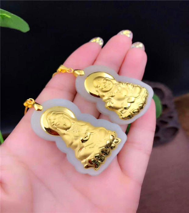 Natural White HeTian Yu + Full Gold Inlaid Carved Kwan-Yin Buddha Lucky Amulet Pendant Necklace + Certificate Fashion Jewelry ds 11 china bronze gilded guanyin bodhisattva comfortable kwan yin buddha statue page 3