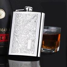Qualität flachmann 8 unzen portable edelstahl 304 whisky glaskolben metall wein topf tasche Alkohol flasche metall 220ml whisky