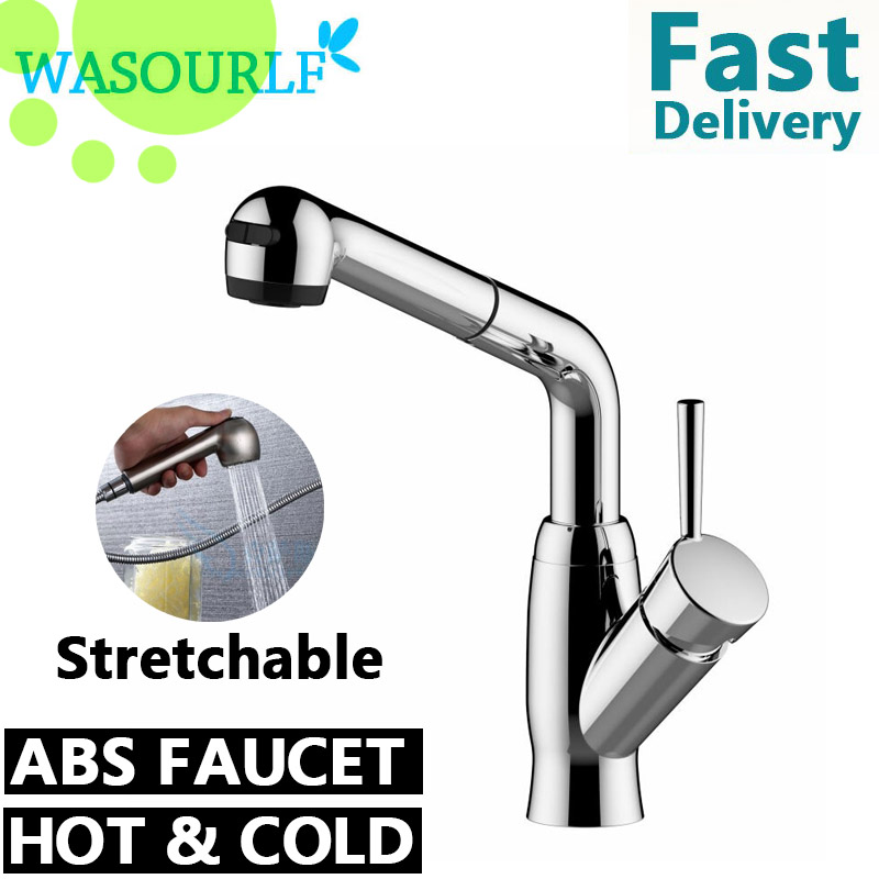 WASOURLF ABS plastic kitchen pull-out faucet hot and cold tap chrome plated free shipping диски helo he844 chrome plated r20