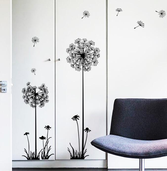 Hot hitam dandelion stiker dinding ruang duduk kamar tidur perhiasan - Dekorasi rumah - Foto 4