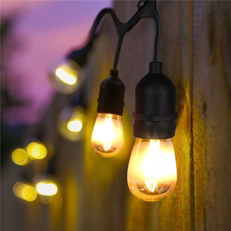 33Ft 10m 10 E27/S14 Led Bulbs Waterproof String Light UL Listd Commercial Quality Holiday String Light Perfect for Outdoor Black the perfect holiday