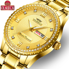OLMECA Male Clock Military Men 's Watch Fashion Stainless Steel Montre Homme Waterproof Watches Gold Wrist Watch Drop-Shipping prong setting women s watch men s watch fine couple s hours stainless steel bracelet clock full crystal gift royal crown box