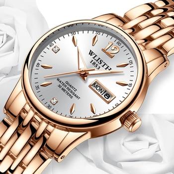 Women Dress Watch Rose Gold Stainless Steel WLISTH Brand Fashion Ladies Wristwatch Week Date Quartz Clock Female Luxury Watches дамски часовници розово злато