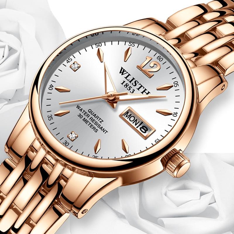 Часы наручные WLISTH женские кварцевые под платье, брендовые модные наручные, с датой недели, из нержавеющей стали, цвет розового золота