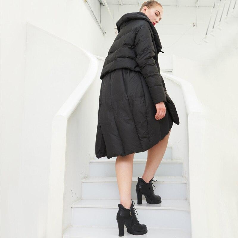 Noir Blanc Femmes Ao561 90 Solide Haute Pardessus Canard D'hiver Manteau Veste Neige 2018 Duvet Qualité Femelle De Marque Style Chic Irrégulière qORAB