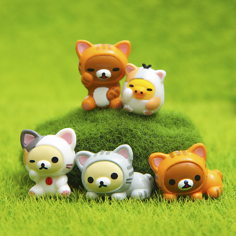 Lovely Cat 5pcs /set Rilakkuma Cosplay Mini Cat PVC Action Figures Toys Moss Bonsai Small Landscape Animals Model Decoration Toy lps pet shop toys rare black little cat blue eyes animal models patrulla canina action figures kids toys gift cat free shipping