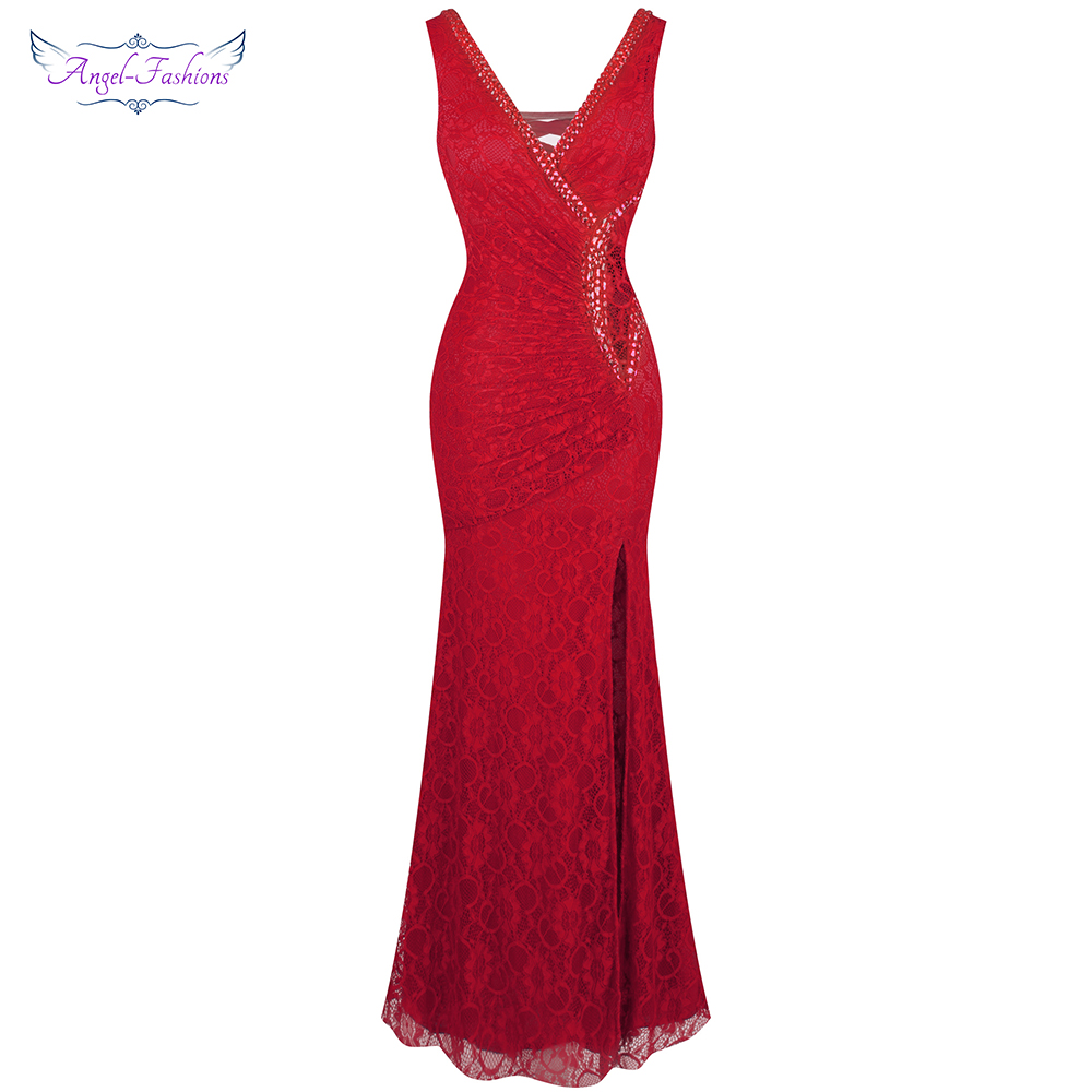 Angel-fashions Women's V Neck Evening Dress Pleated Lace Mother Of Bridesmaid Dresses Robe De Soiree 232