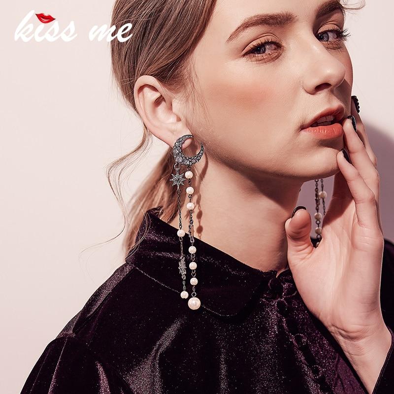 все цены на KISS ME Personalized Crystal Imitation Pearls Star Moon Earrings 2017 Alloy Vintage Long Earrings Women Jewelry