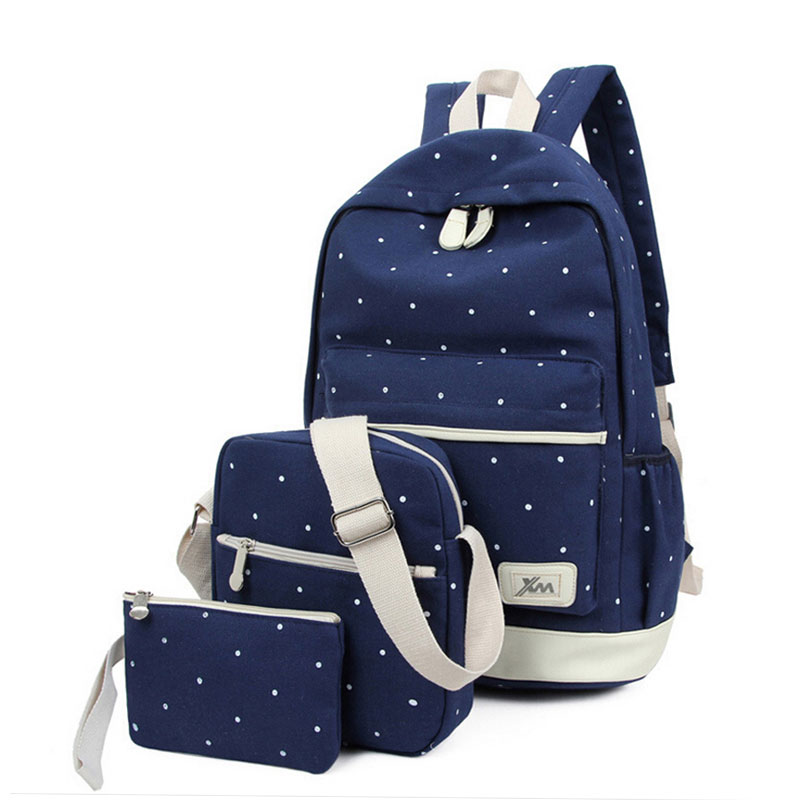 canvas backpack women dot school bag for teenagers girls Preppy Style composite bags set travel high quality female backpacks miyahouse preppy style canvas school backpack for teenager girls cute unicorn printed school bag female travel bag