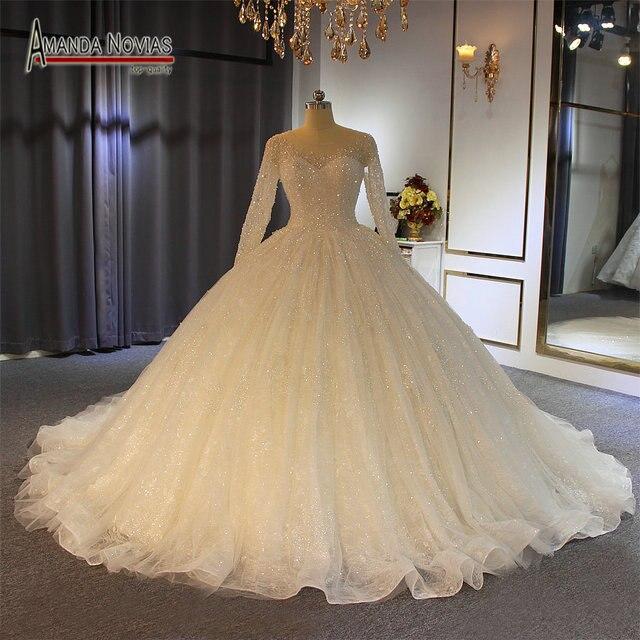 2019 robe de soiree düğün elbisesi amanda novias Shinning Modeli Yeni