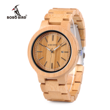 BOBO BIRD WP23 Simple Quartz Watches All Original Bamboo Wristwatch With Date Display for Men Women