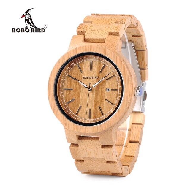 BOBO kuş WP23 basit kuvars saatler tüm orijinal bambu kol saati tarih ekran ile erkekler kadınlar için