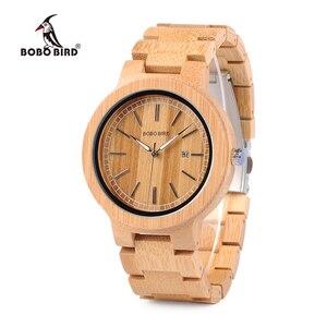 Image 1 - ボボ鳥 WP23 シンプルなクォーツ腕時計すべてオリジナル竹腕時計日付表示男性女性