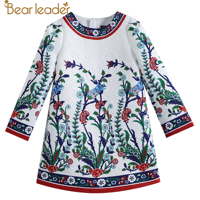 Bear Leader 2017 New European and American Style Children White Foral Pattern Long-sleeves Printing Girl Dresses For 4-14 Year 1 design laser cut white elegant pattern west cowboy style vintage wedding invitations card kit blank paper printing invitation
