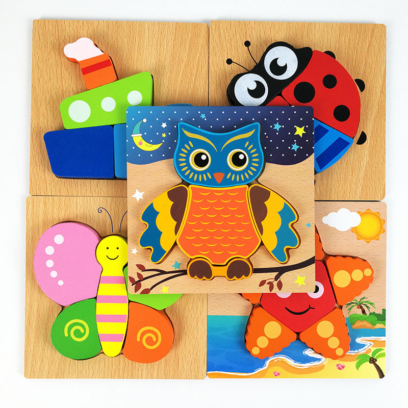 2017 New Arrival 3D Wooden Puzzle Jigsaw Wooden Toys For Children Cartoon Animal Puzzle Intelligence Kids Educational Toy Toys baby toys new cartoon 3d jigsaw puzzle building toys for children wooden traffic animal design kids toy