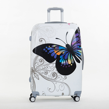 Female's cute 14 24inches trolley luggage bags sets,women travel luggage suitcase sets on universal wheels,butterfly trolley bag