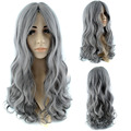 70cm/320g Long Dyed Gray Synthetic Wig Hair Heat Resistant Fiber Curly Party Daily Hair Wigs For Women Lady Wig With Free Cap