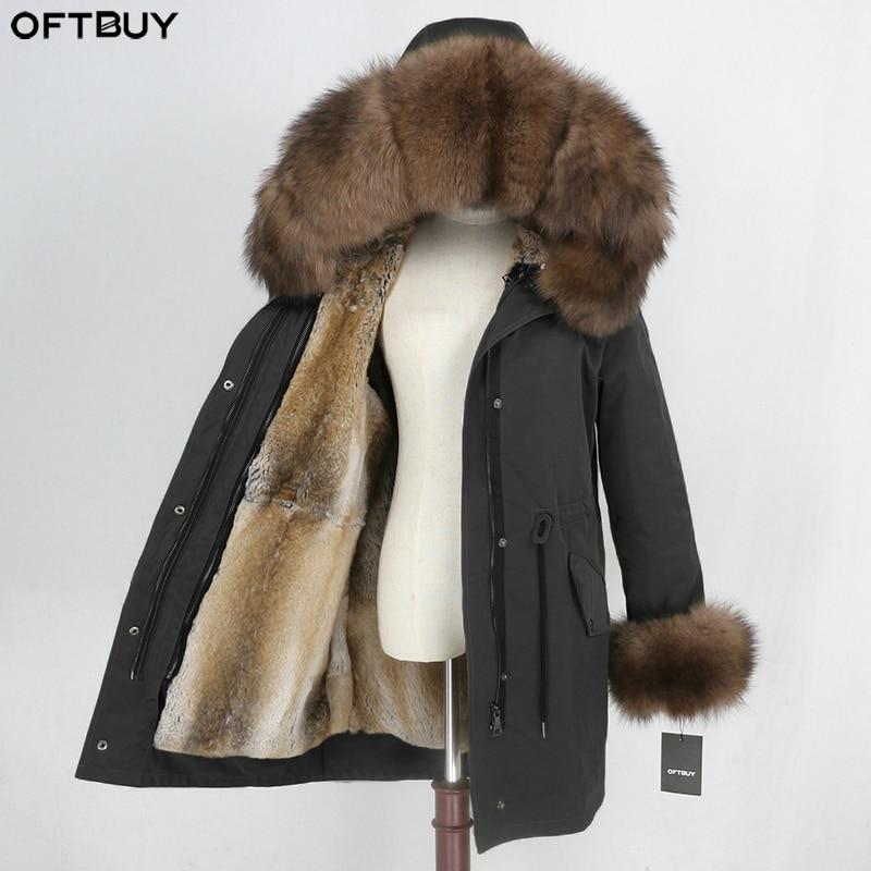 OFTBUY Winter Jacket Women Real Fur Coat Waterproof Parka Natural Fox Fur Collar Cuffs Rabbit Fur Liner Outerwear Detachable New