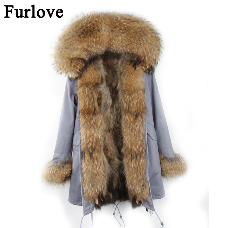 Parkas Women Winter 2017 Long Real Fur Coat Female Warm Fur Coat Jackets Natural Raccoon Fur Collar Real Raccoon Fur Lined Parka 2017 winter new clothes to overcome the coat of women in the long reed rabbit hair fur fur coat fox raccoon fur collar