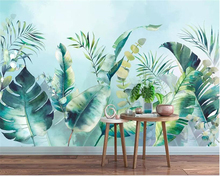 beibehang wallpaper for walls 3 d Nordic hand painted watercolor tropical rainforest Leaves forest TV background wall wallpaper цены