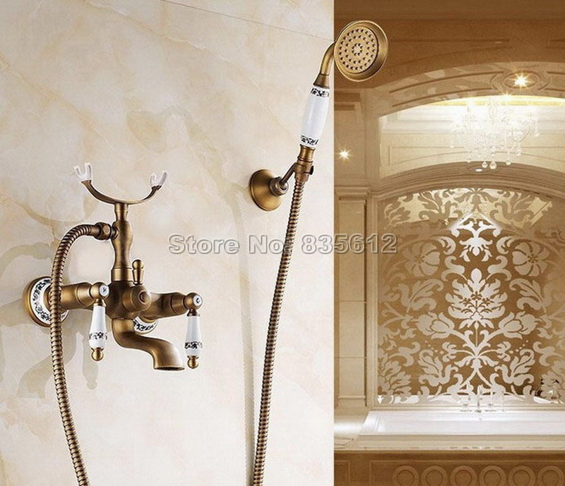 Dual Holder Dual Control Bath Tub Mixer Tap with Handheld Shower Head Antique Brass Wall Mounted Bathroom Faucet Wtf308
