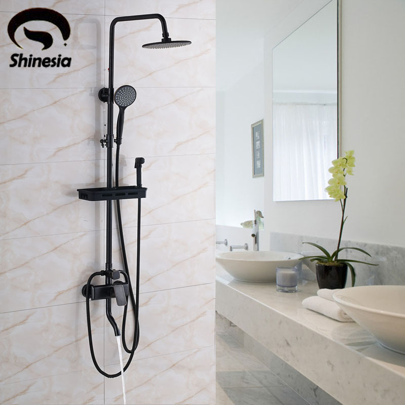 Oil Rubbed Bronze Shower Faucet Sets 8 Inch Rainfall Shower Head with Bathroom Shelf & Bidet Sprayer Tub Mixer Tap