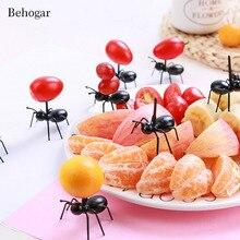 Behogar, 12 шт., милая пластиковая мини вилка для фруктов в форме муравья, зуб, палочки для еды, для бара, вечерние кухонные вилки, посуда, детский десерт