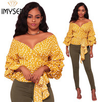 IMYSEN Summer Autumn Fashion Blouses Yellow Sexy V Neck Collar Lantern Sleeve Blouse Sashes SMLXLXXL Cardigan