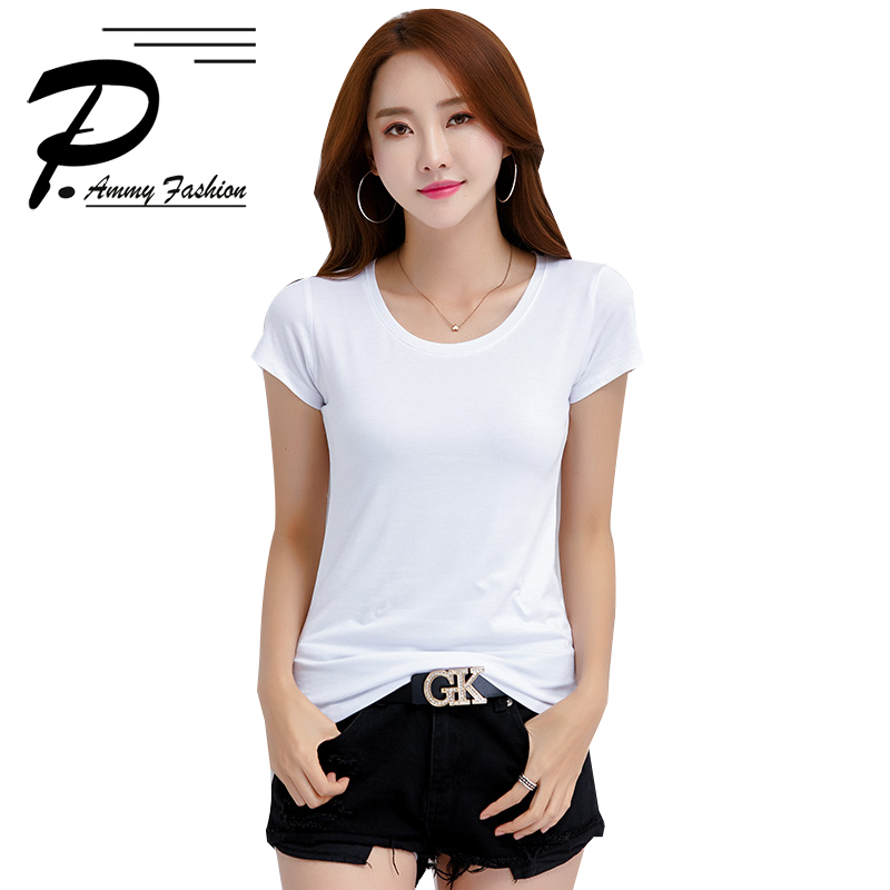 S~XXL Fashion White Cotton short-sleeved T-shirt 2018 Summer New Brief Cotton Casual Solid Color O-neck Tops
