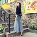 2016 Spring And Autumn new faldas big swing maxi skirts womens high waist pleated yarn skirt tutu long tulle skirt 5 color