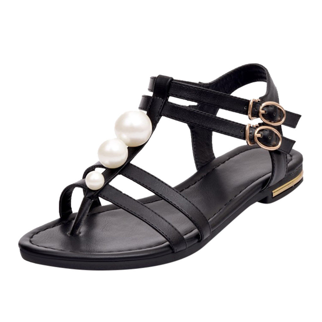 JAYCOSIN shoes Women Pearl Sandals Open Toe Summer One Band Ankle Strap Buckle Casual Outside Sandals 1