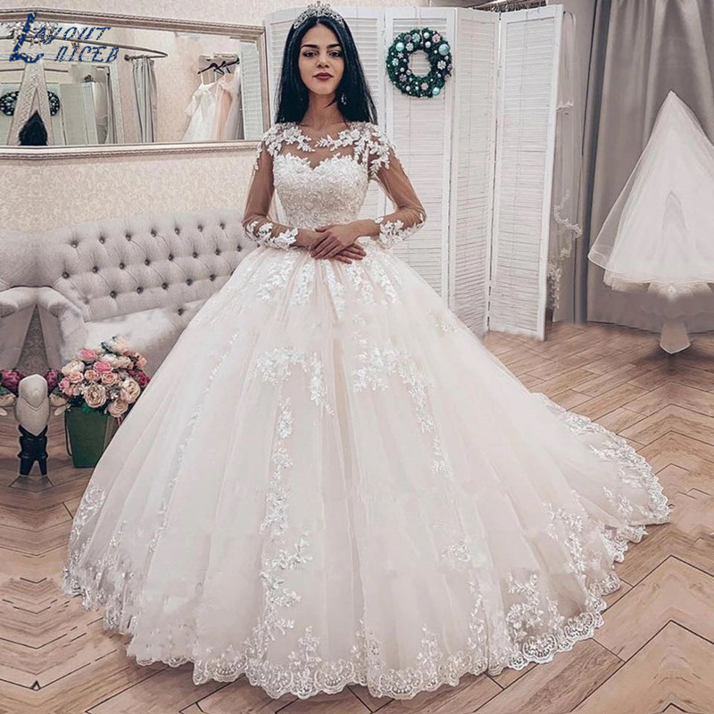 ZL1050 Elegant Lace Applique Long Sleeves Ball Gown Wedding Dresses Bridal Gown Celebrity Vestido De Noiva 2019 Robe De Mariee