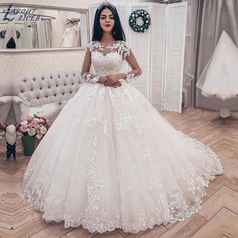 ZL1050 Elegant Lace Applique Long Sleeves Ball Gown Wedding Dresses Bridal Gown Celebrity Vestido De Noiva 2019 Robe De Mariee
