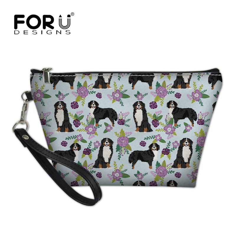 FORUDESIGNS Women Cosmetic Bag Bernese Mountain Dog Pet Purple Printing Neceser Travel Makeup Bags Beauty Organizer 2018 Fashion unicorn 3d printing fashion makeup bag maleta de maquiagem cosmetic bag necessaire bags organizer party neceser maquillaje
