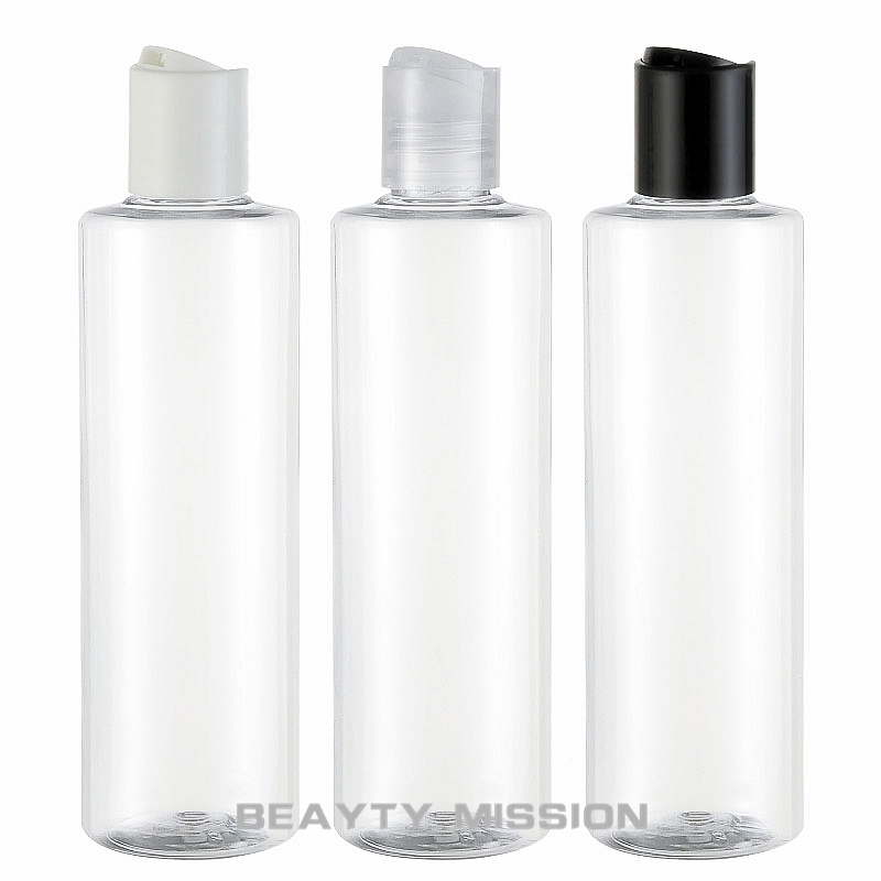 BEAUTY MISSION 24 Pcs 250ml Empty Clear Plastic Shampoo Bottles With Disc Lid,empty Essential Oils Cosmetic Packaging Shower Gel