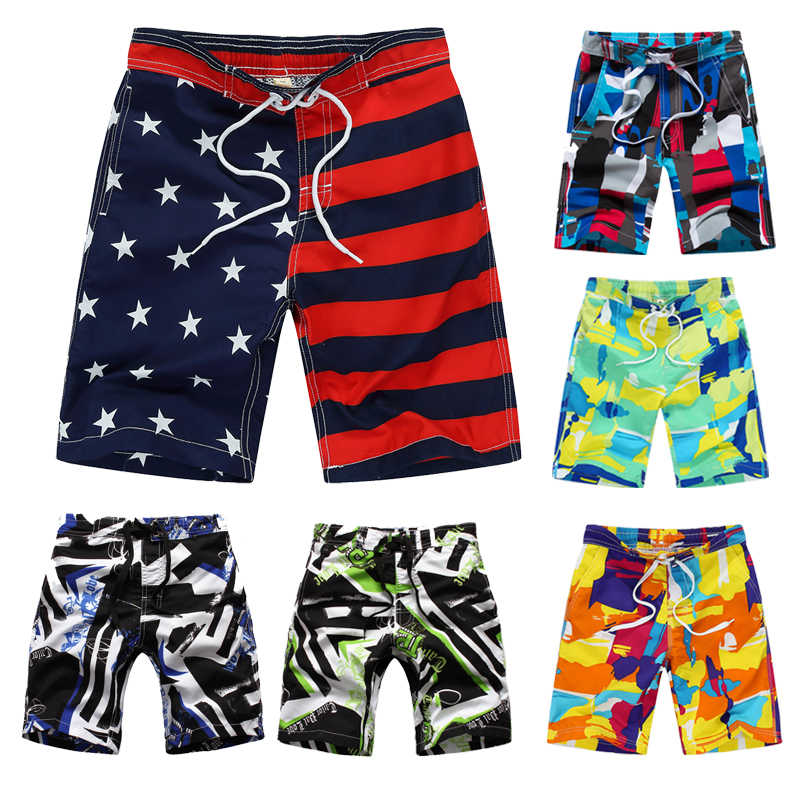 2019 New Beach Shorts For Kids Surf Board Short Custom Child Swim Trunks Boy's Sport Wear American Flag 7-14 Years Board Shorts