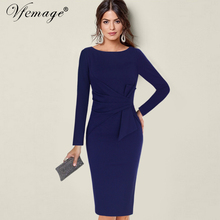 Vfemage Womens Winter Elegant Vintage Ruched Pleated Waist Bow Long Sleeve Work Office Business Party Bodycon Sheath Dress 8322(China)